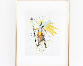 Overwatch Mercy Watercolor silhouette Fine Art Print digital instant download, high quality poster for wall decor