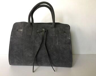 Gray leather tote, Suede leather tote, Leather  bag, Suede leather tote bag , Leather Purse, Gray Hanna bag