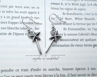 Metal silver magic wand earrings
