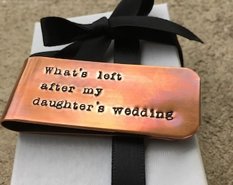 Father Of The Bride Money Clip Gift, Wedding Gift For Dad, Gift From Bride, Little Bit Of Money, Custom Copper Money Clip, Thank You Gift