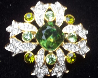 KENNETH J LANE Vintage Brooch MALTESE Cross Green & Ice Rhinestones