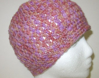 Womans Pink Hat Cap Beanie Cloche Wool Crochet Oversize Springtime Organic Retro Unique Trending Tight Head Hugging
