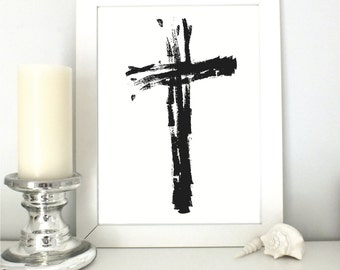 Cross Print   Cross   Scripture Print   Bible Verse  Printable Art   Typographic Art   Decor   Digital Print