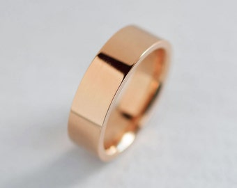 6mm or 7mm Comfort Fit Band  Men's Rose Gold Wedding Band   Flat Comfort Fit Recycled Gold   Heavy Wedding Band 10k 14k 18k Gold Ring