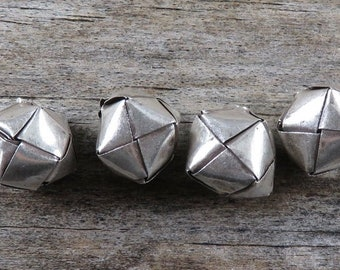 Hill Tribe Fine Silver Origami Cube Beads - Thai Artisan Beads - Hill Tribe Beads - Artisan Findings - Hill Tribe Findings - Origami Bead