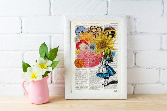 Alice in Wonderland with Flowers, gift her, Alice wall decor dictionary print wall Lewis Carroll Print poster decor ALW025