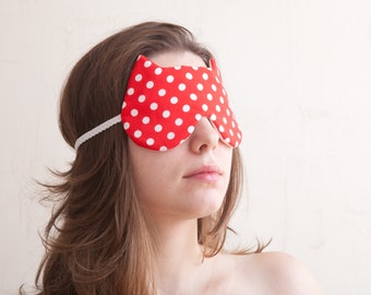 Polka Dot Sleep Mask, Gift for New Mom, Red Bridesmaid Gift, Cat Lover Gift, Red Polka Dot Bedroom Accessories, Red Valentine's Day Gift