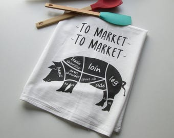 Flour Sack Towel, Dish Towel, Tea Towel,  Kitchen Towel, Housewarming Gift, Pig Towel, Pig, Farm Towel, Butcher Towel, Shower Gift