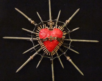 Sacred Heart with Small Brass Nails, Rosary Ring, Upholstery Tacks, Nails, Wire 18