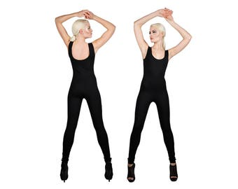 Black Catsuit in Cotton, Jumpsuit, Yoga Catsuit, Minimalist, Athleisure Outfit, Dancewear, Fashion Catsuit, Leotard, Unitard, LENA QUIST