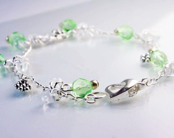 Sale Jewelry .Charm Bracelet - Bracelet for Mother of the Groom - Mother of the Bride Gift - Silver Plated Green Crystal Bracelets MClip013