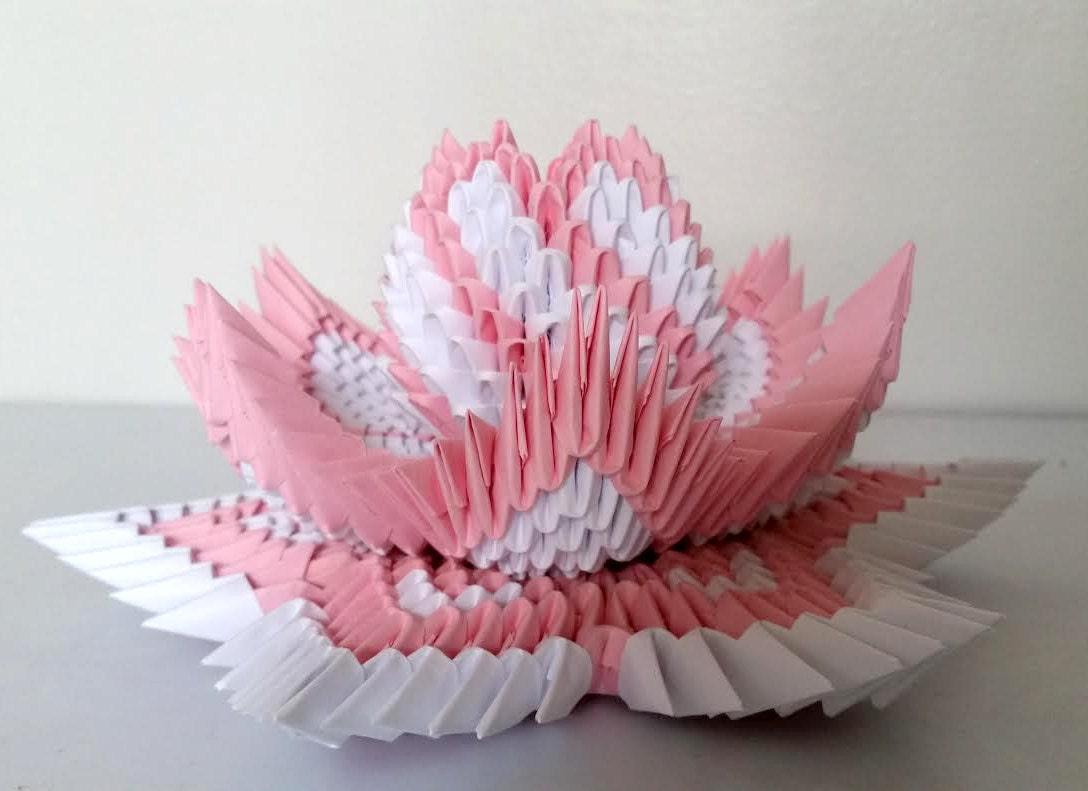 Amazing paper folding lotus flower festooning images for wedding 3d origami lotus 2 izmirmasajfo