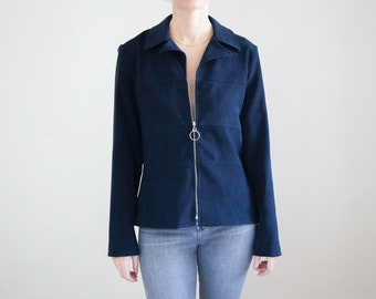 Faux Suede Navy Blue Zipper Pull Jacket