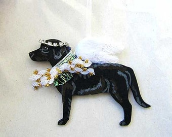 Hand-Painted LABRADOR RETRIEVER BLACK Feathered Wing Angel Wood Ornament...Artist Original
