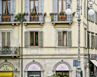 Italy photography - Arezzo Streetscape -Tuscany - Fine art travel photography - doors and windows -  lemon, ivory, pink, grey