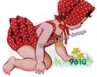 Vintage Baby Sewing Pattern 1950s Jumpsuit Romper Bonnet Size Age 1-2 Years PDF
