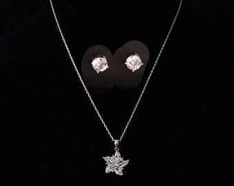 Crystal Flower necklace and earrings-jewelry sets