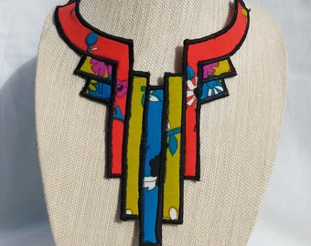 Necklace Art Deco Style Reversible Fabric