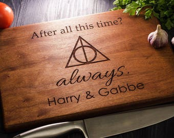 Harry Potter ALWAYS, Personalized Cutting Board, monogram cutting board, Family Sign, Custom cutting boards, Wedding Gift harry08