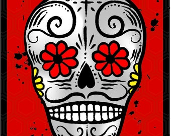 Day of the Dead refrigerator Magnet RED