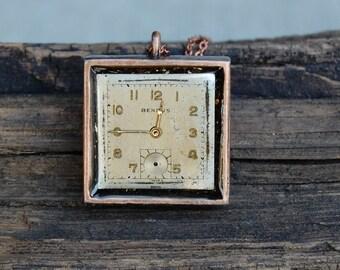 Watch gear necklace, steampunk necklace, vintage watch face necklaceStocking Stuffers