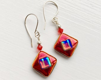 Dichroic Glass and Sterling Silver Drop Earrings - Bifröst Ruby