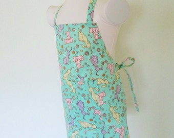 Childrens Easter Bunny Apron - Mint Green Sweet kids apron With pastel colorful Bunny Rabbits All Over -has slight glitter to it
