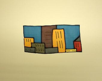 Peinture sur soie - Original peinture soie - peinture sur soie - peinture à la main - peinture sur soie ville - décoration - 17 x 8 cm