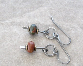 jasper and silver earrings, rustic red and green stone earrings, oxidized jewelry, metalwork earrings, silver earrings, mixed metal earrings