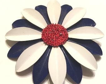 Vintage Patriotic Enamel Flower Pin
