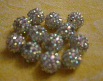 1 bead shambhala silver iridescent 14 mm