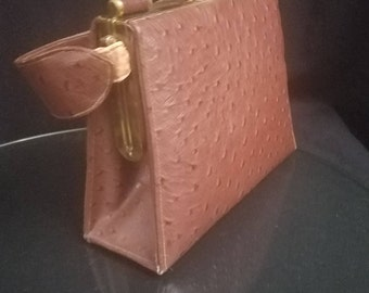 Vintage Piel Genuina Abascal Tan Ostrich Leather purse hecho en Mexico