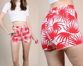 80s Tropical Hot Pants - XS // Vintage Red White Leaf Print Shorts