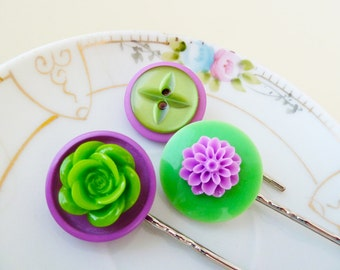 Lavender Hair Accessories, Button Flower Bobby Pin Set, Lime Green Button Hair Slides, Cabochon Bobby Pins, Handmade by KreatedByKelly