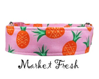 """Preppy Tropical Pineapple 1"""", 1.5"""" or 2"""" Buckle or Martingale Style Dog Collar"""