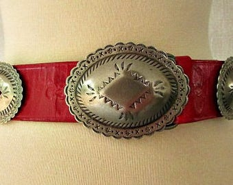 vintage 80s red leather concho belt M southwestern cowgirl catherine dial easley