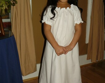 "Girls White Cotton Nightgown With Eyelet Ruffle with option of Matching 18"" Doll Gowns"