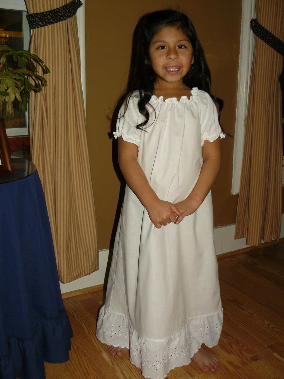 Girls White Cotton Nightgown With Eyelet Ruffle with option of