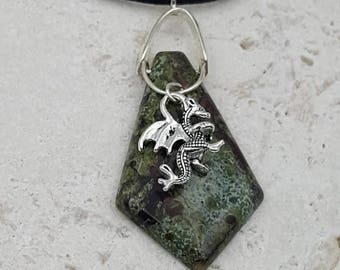 Dragon's blood Jasper Magical Dragon necklace. Celtic,