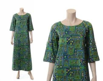 Vintage 60s Hawaiian Dress, 70s Malihini Hawaiian Dress, 1960s 1970s Polynesian Dress, Luau Hippie Boho Tiki Caftan / Small