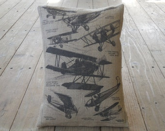 Airplane Poster Burlap Pillow, Planes, Man Cave,  Farmhouse Pillows, V8, INSERT INCLUDED