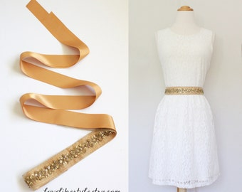 Gold Sequined  Lace Old Gold  Ribbon Sash, Bridal Gold Sash, Bridesmaid Sash, Gold Sequined Belt