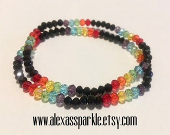 Pride LGBT crystal bead bracelet set of 2 - Set de 2 Pulseras de piedritas de cristal colores Pride LGBT