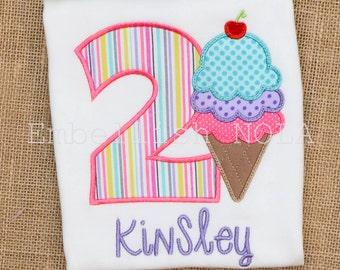 Ice Cream Applique Birthday Shirt or Bodysuit Triple Scoop Ice Cream Ice Cream Theme Party