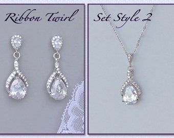 Bridal Jewelry Set, Teardrop Crystal Bridal Set,  Clip On Earring Option RIBBON