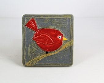 bird tile, bird art, painted bird, michigan art, ceramic tile, red bird, cardinal