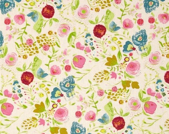 Art Gallery Fabrics - Bari J Fabric - Emmy Grace Budquette in Dayspring Floral Fabric by the Yard - Watercolor Flowers - Summer Girls Dress