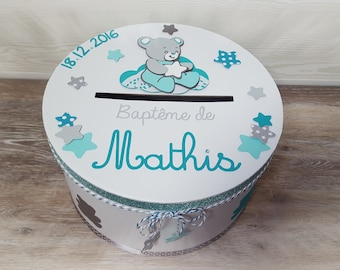 Personalized Teddy bear theme, blue, turquoise and gray baptism urn