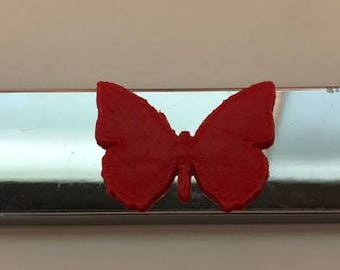 Butterfly in 3d -  Chrome with RED 3d VERSION Automotive License Plate Frame -
