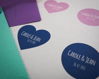 30 Etiquettes autocollantes personnalisées aux couleurs de votre mariage